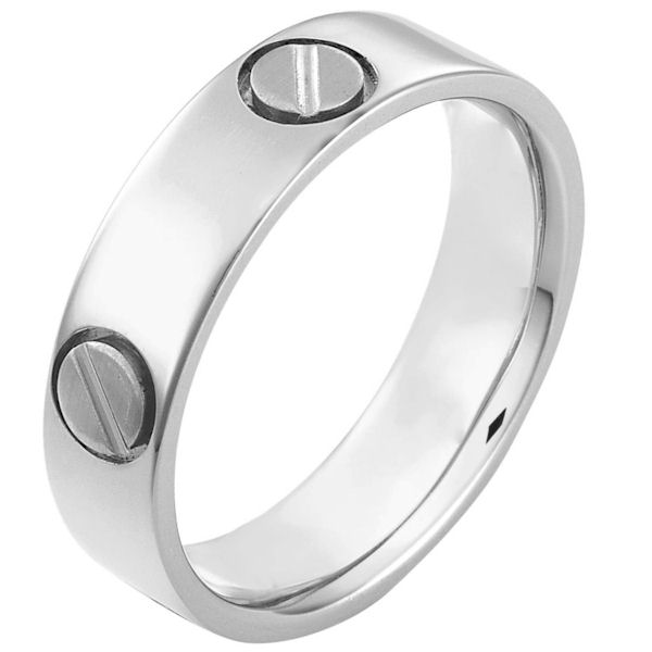 Item # 115191PP - Platinum hand made comfort fit Wedding Band 6.0 mm wide. The ring has fasteners that resembles screws. These are around the whole ring. The ring has a matte finish. Different finishes may be selected or specified.