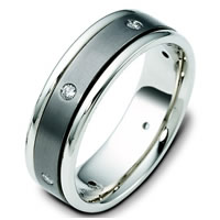 Titanium-14 K Gold Gold Diamond Wedding Ring