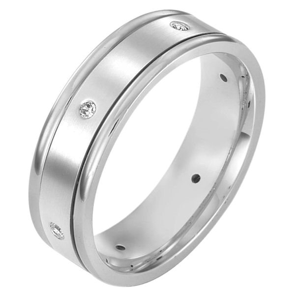 Item # 115231AG - Silver 925, comfort fit, 7.0mm wide diamond wedding band. Diamond total weight is 0.10ct The diamonds are graded as I1 in clarity G-H in color