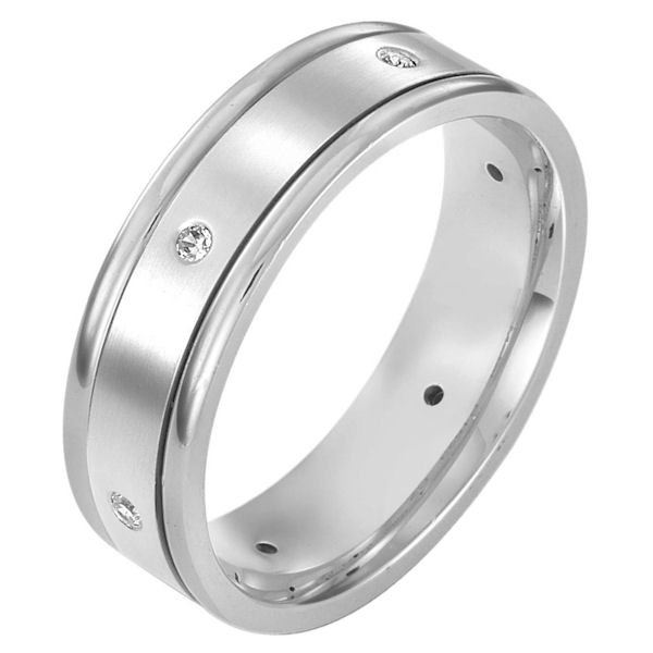 Item # 115231WE - 18K white gold, comfort fit, Wedding Band 7.0 mm wide diamond ring. Diamond total weight is 0.10 ct tw. The diamond quality is VS1-2 in clarity and G-H in color. The center is matte and the outer edges are polished.