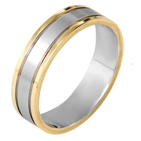 Item # 115301E - 18 kt two-tone hand made comfort fit Wedding Band 5.5 mm wide. The center of the ring is matte finish and the outer edges are polished. Different finishes may be selected or specified.