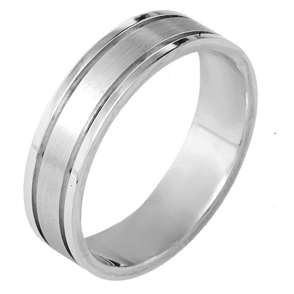 Item # 115301WE - 18 kt white gold, hand made comfort fit Wedding Band 5.5 mm wide. The center of the ring is matte finish and the outer edges are polished. Different finishes may be selected or specified.