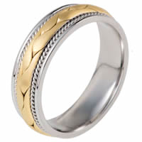 Item # 115321E - Two-Tone Wedding Band 18 kt Hand Made