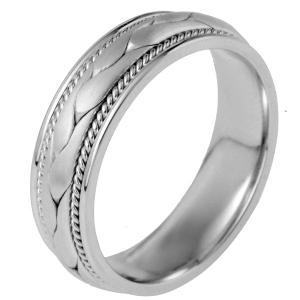 Item # 115321W - 14 kt white gold, hand made comfort fit Wedding Band 6.5 mm wide. There is a hand made braid in the center with one hand crafted rope on each side of the braid. The center is matte finish and the outer edges are polished. Different finishes may be selected or specified.