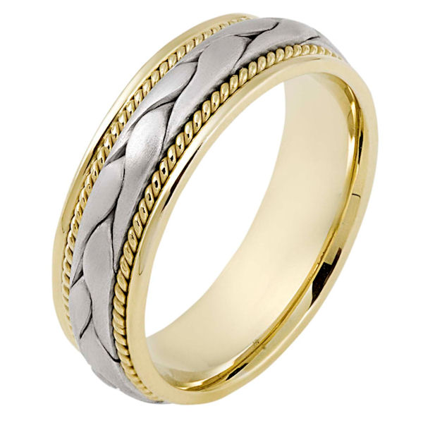 Item # 115331E - 18 kt hand made comfort fit Wedding Band 6.5 mm wide. There is a hand made braid in the center with one hand crafted rope on each side of the braid. The center is matte finish and the outer edges are polished. Different finishes may be selected or specified.