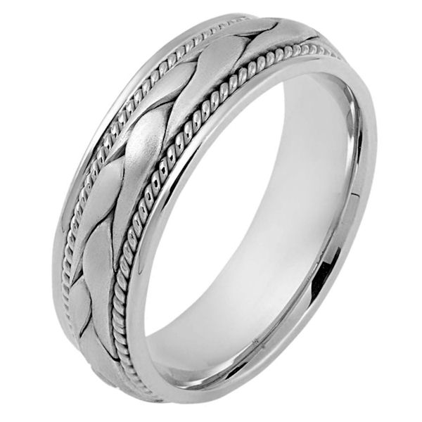Item # 115331PP - Platinum hand made comfort fit Wedding Band 6.5 mm wide.There is a hand made braid in the center with one hand crafted rope on each side of the braid. The center is matte finish and the outer edges are polished. Different finishes may be selected or specified.