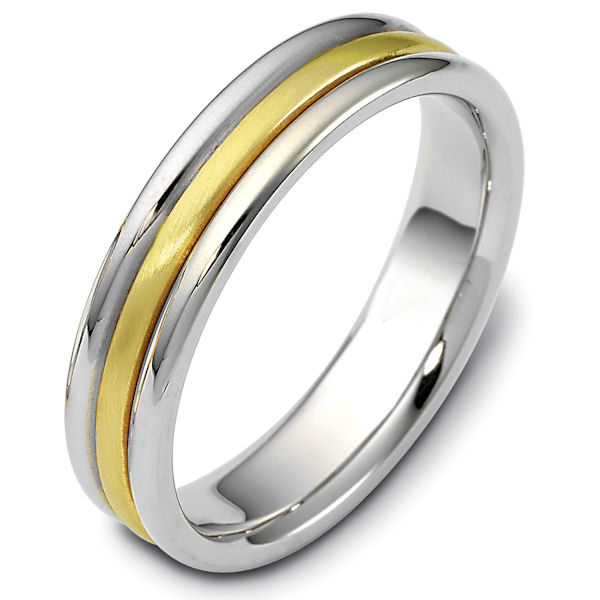 Item # 115341 - 14 kt two-tone hand made comfort fit Wedding Band 5.0 mm wide. The center has a brush finish and the outer edges are polished. Different finishes may be selected or specified.