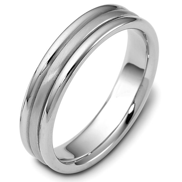 Item # 115341PP - Platinum hand made comfort fit Wedding Band 5.0 mm wide. The center has a brush finish and the outer edges are polished. Different finishes may be selected or specified.