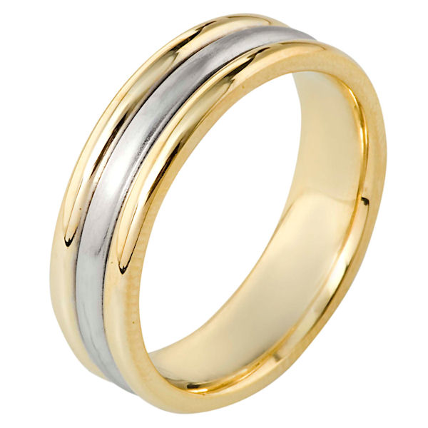 Item # 115351E - 18 kt two-tone hand made comfort fit Wedding Band 6.5 mm wide. The center has a brush finish and the outer edges are polished. Different finishes may be selected or specified.