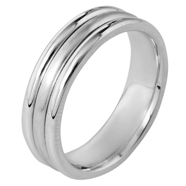 Item # 115351WE - 18 kt white gold, hand made comfort fit Wedding Band 6.5 mm wide. The center has a brush finish and the outer edges are polished. Different finishes may be selected or specified.