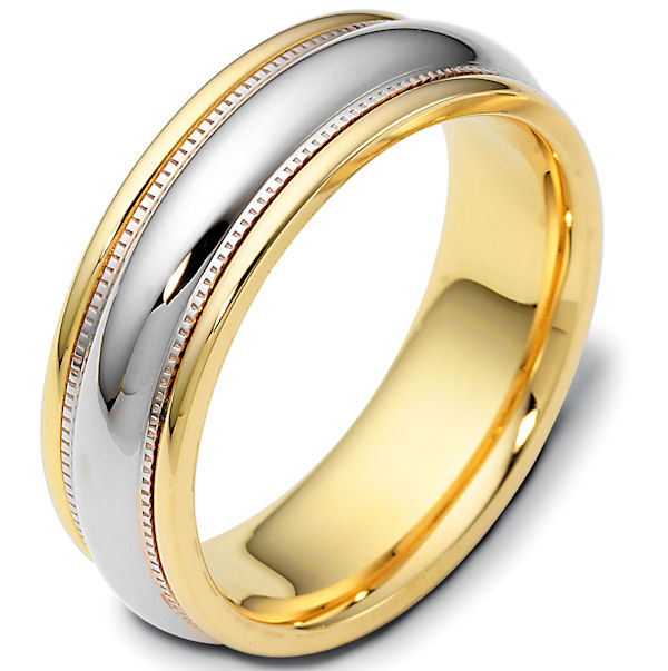 Item # 115401PE - Platinum and 18K yellow gold, two-tone, comfort fit Wedding Band 7.0 mm wide. The ring has milgrain on each side and is completely polished. Different finishes may be selected or specified.