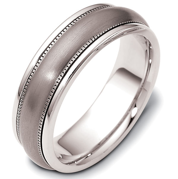 Item # 115401TG - 14 kt white gold and titanium, comfort fit Wedding Band 7.0 mm wide. The ring has milgrain on each side. The center is a brush finish and the outer edges are polished. Different finishes may be selected or specified.