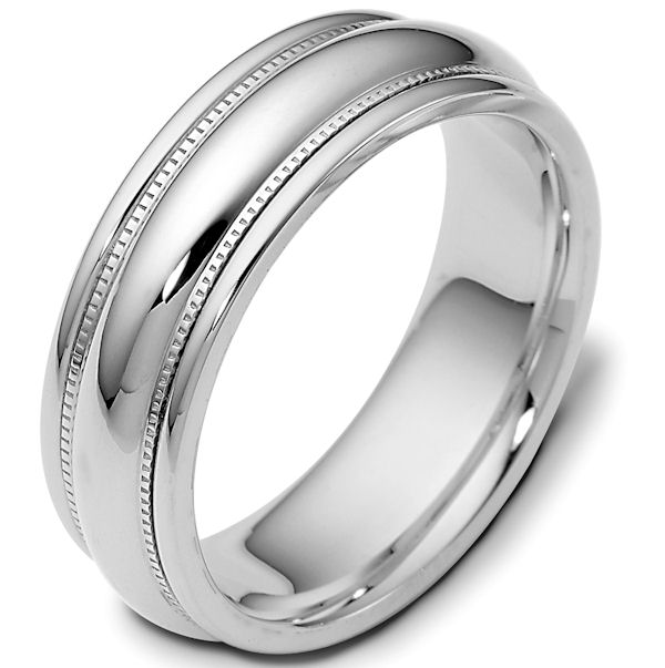 Item # 115401WE - 18 K white gold, comfort fit Wedding Band 7.0 mm wide. The ring has milgrain on each side and is completely polished. Different finishes may be selected or specified.
