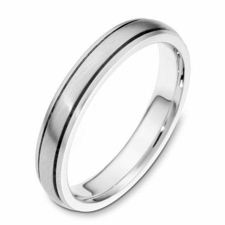 Item # 115411WE - 18 kt white gold, hand made comfort fit Wedding Band 4.0 mm wide. The whole ring is a matte finish. Different finishes may be selected or specified.