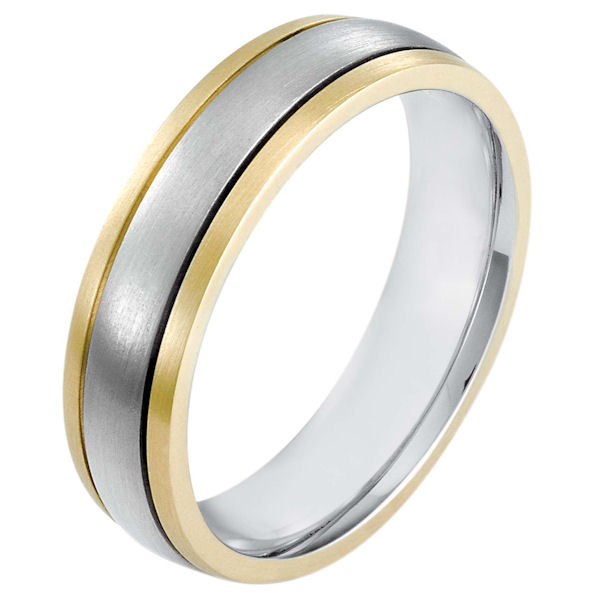 Item # 115431E - 18 kt two-tone hand made comfort fit Wedding Band 6.0 mm wide. The whole ring is a matte finish. Different finishes may be selected or specified.
