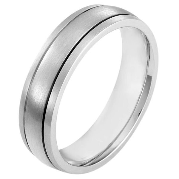 Item # 115431WE - 18 kt white gold, hand made comfort fit Wedding Band 6.0 mm wide. The whole ring is a matte finish. Different finishes may be selected or specified.