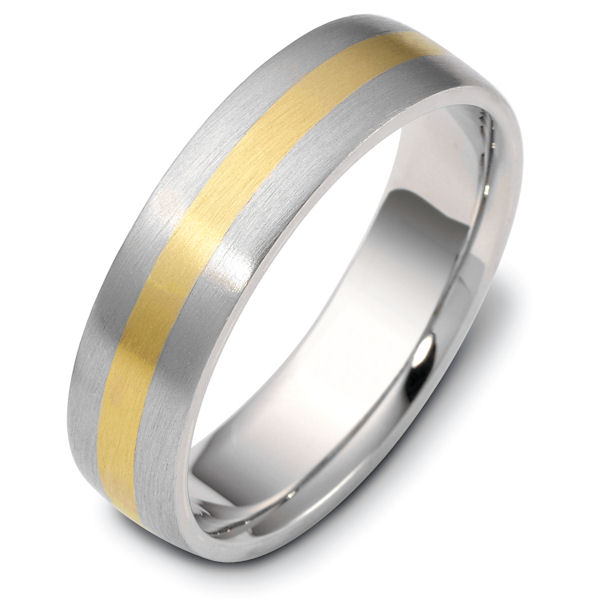 Item # 115441E - 18 kt two-tone hand made comfort fit Wedding Band 6.0 mm wide. Sides are Brushed  center part is Matte. Different finishes may be selected or specifed.