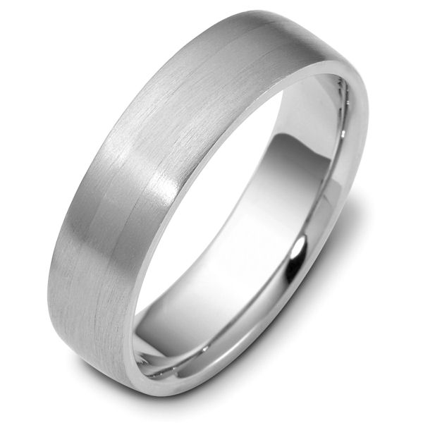 Item # 115441WE - 18 kt white gold, hand made comfort fit Wedding Band 6.0 mm wide. Sides are Brushed  center part is Matte.  Different finishes may be selected or specifed.
