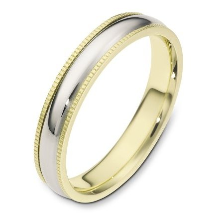 Item # 115541 - 14 kt Gold Two-Tone 4.0 mm Wide Comfort Fit Milgrain Edge Wedding Band. The ring is completely polished. Different finishes may be selected or specified.