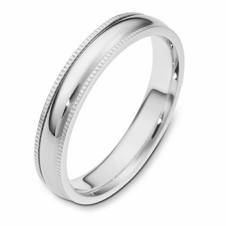 Item # 115541WE - 18 kt white gold 4.0 mm Wide Comfort Fit Milgrain Edge Wedding Band. The ring is completely polished. Different finishes may be selected or specified.