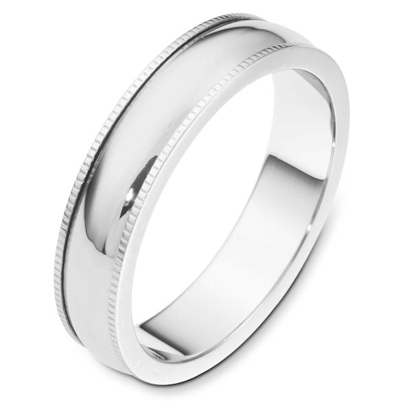 Item # 115571WE - 18 kt white gold 5.0 mm Wide, Comfort Fit Milgrain Edge Wedding Band. The ring is completely polished. Different finishes may be selected or specified.