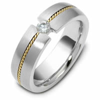 Platinum-Gold Wedding Band 0.12CT
