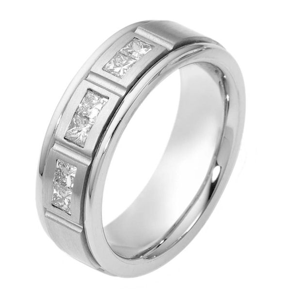 Item # 115641PP - Platinum 0.30 ct TW princess cut Diamond Band. Diamonds are VS1/G-H. 6.50 mm Wide Comfort Fit Wedding Band. The center of the ring is a matte finish and the outer edges are polished. Different finishes may be selected or specified.