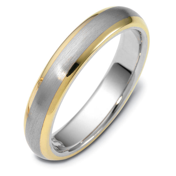 Item # 115751 - 14kt two-tone hand made comfort fit Wedding Band 5.0 mm wide. The center of the ring is a matte finish and the outer edges are polished. Different finishes may be selected or specified.