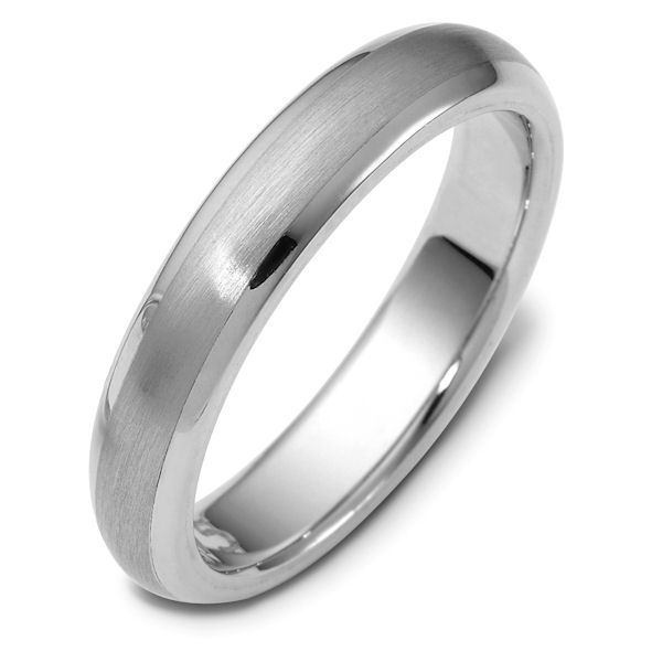 Item # 115751WE - 18 kt white gold, hand made comfort fit Wedding Band 5.0 mm wide. The center of the ring is a matte finish and the outer edges are polished. Different finishes may be selected or specified.