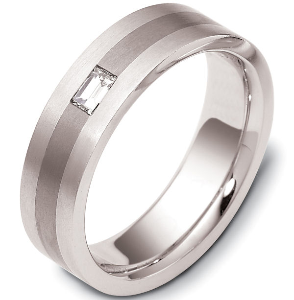 Item # 115951TG - 14 kt white gold and titanium, comfort fit Wedding Band 6.5 mm wide. 0.20 ct diamond VS1 in clarity G in color. The whole ring is a brush finish. Different finishes may be selected or specified.