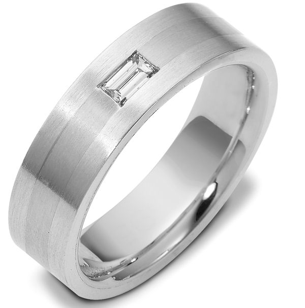 Item # 115951WE - 18 Kwhite gold, hand made, 6.5 mm wide, comfort fit diamond wedding band. 0.20 ct diamond VS1 in Clarity G in Color. The whole ring is a brush finish. Different finishes may be selected or specified.