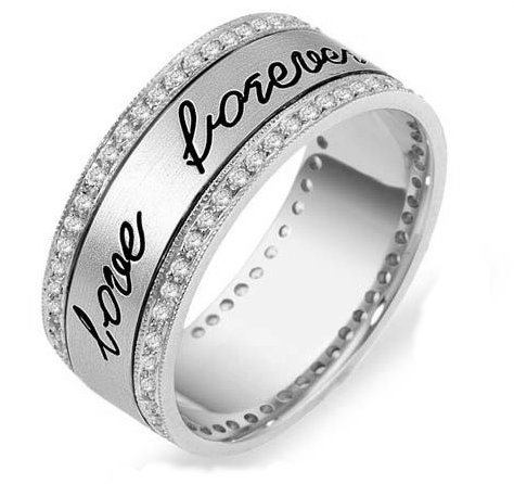 18K Engraved Eternity Anniversary Ring