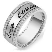 Item # 11598WE - 18K Engraved Eternity Anniversary Ring