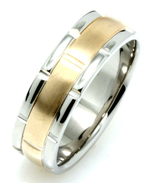 Item # 115991 - 14 kt two-tone hand made comfort fit Wedding Band 7.0 mm wide. The center is a brush finish and the outer edges are polished. Different finishes may be selected or specified.