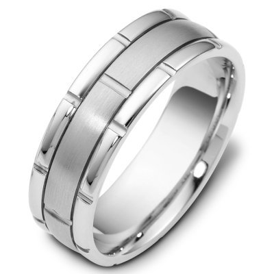 Silver, 7.0mm Wide Wedding Band