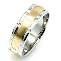 Item # 115991E - 18kt Hand Made two-tone Gold Wedding Band