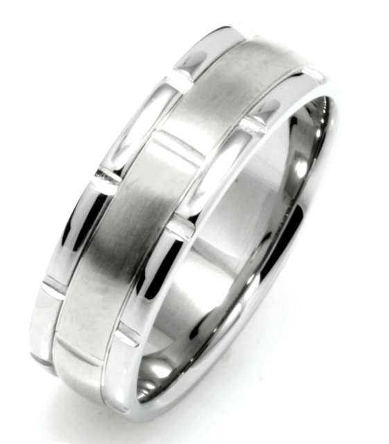 Item # 115991WE - 18 kt white gold, hand made comfort fit Wedding Band 7.0mm wide. The center is a brush finish and the outer edges are polished. Different finishes may be selected or specified.