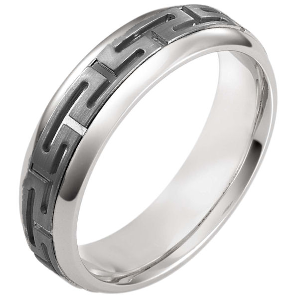 Item # 116021TG - 14 kt white gold and titanium, comfort fit, 6.0 mm wide wedding band. There is a greek key pattern around the whole ring with a matte finish. The outer edges are polished. Different finishes may be selected or specified.