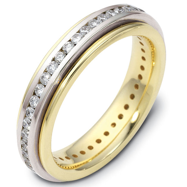 Item # 116061E - 18 K two-tone, 4.5 mm wide, comfort fit diamond rotating wedding band. 1.0 ct diamond VS1 in Clarity. G in Color. Diamond total weight is estimated for a size 6.0 ring. The whole ring is polished. Different finishes may be selected or specified.