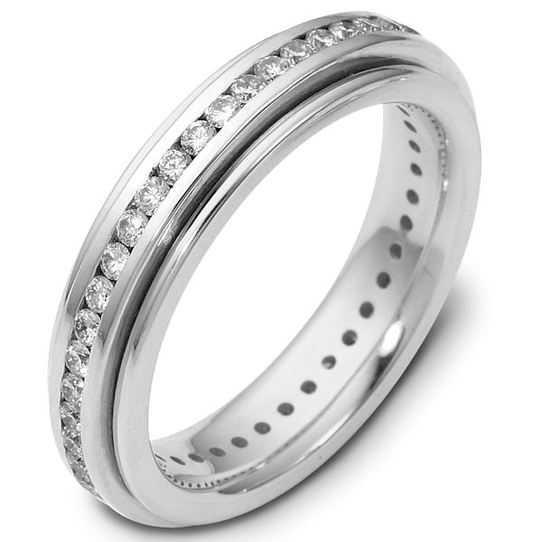 Item # 116061WE - 18 K white gold, 4.5 mm wide, comfort fit diamond wedding rotating band. 1.0 ct diamond VS1 in Clarity. G in Color. Diamond total weight is estimated for a size 6.0 ring. The whole ring is polished. Different finishes may be selected or specified.