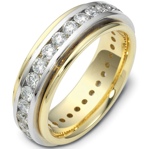 Item # 116141 - 14K yellow gold, comfort fit, 6.0 mm wide, eternity band. Each diamond is 3.0 mm in diameter and diamond total weight is approximately 2.40 ct. Diamond total weight is estimated for a size 6.0 ring. The diamonds are graded as VS1 in Clarity G in Color. The whole ring is polished. Different finishes may be selected or specified.