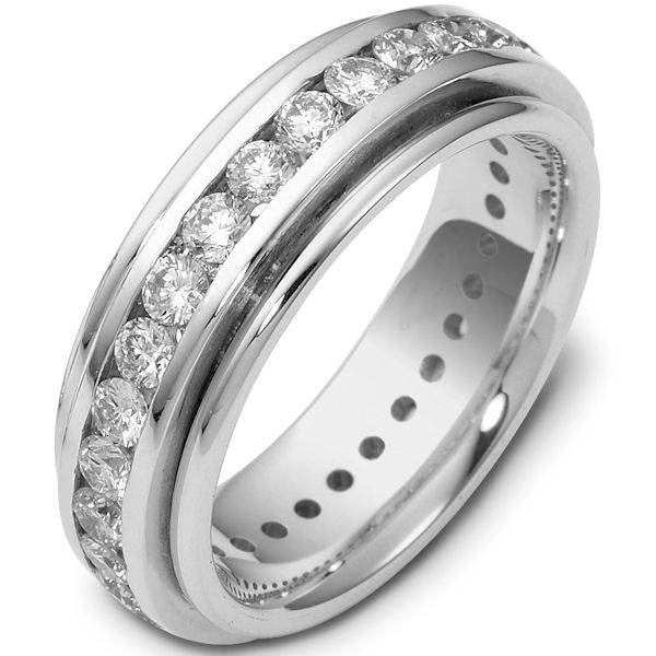 Item # 116141WE - 18K white gold, comfort fit, 6.0 mm wide. eternity band. Each diamond is 3.0 mm in diameter and diamond total weight is approximately 2.40 ct. Diamond total weight is estimated for a size 6.0 ring. The diamonds are graded as VS1 in Clarity G in Color. The whole ring is polished. Different finishes may be selected or specified.