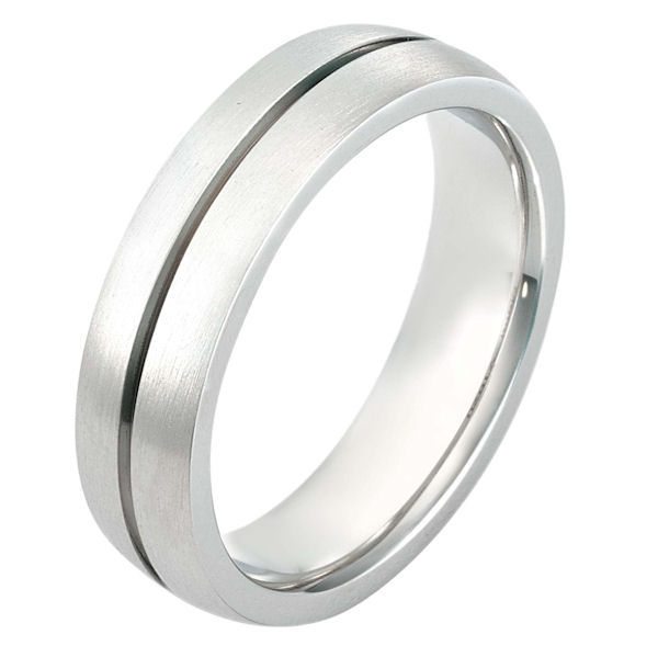 Item # 116201 - 14 kt white gold 6.0 mm wide wedding band. There is one carved line around the whole band. The ring is a matte finish. Different finishes may be selected or specified.
