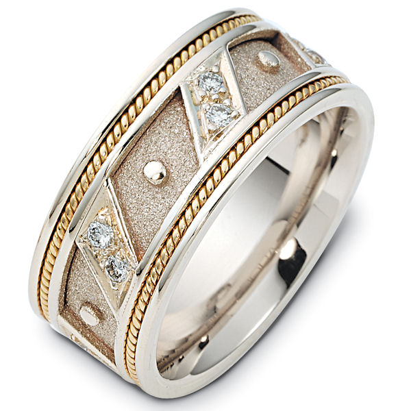 Item # 116241E - 8.5 mm wide two-tone, diamond ring. 0.30 ct diamond weight in size 6.0. The center of the ring is a coarse and heavy sandblast finish. There is one handcrafted rope on each side of the band. The outer edges are polished. Different finishes may be selected or specified.