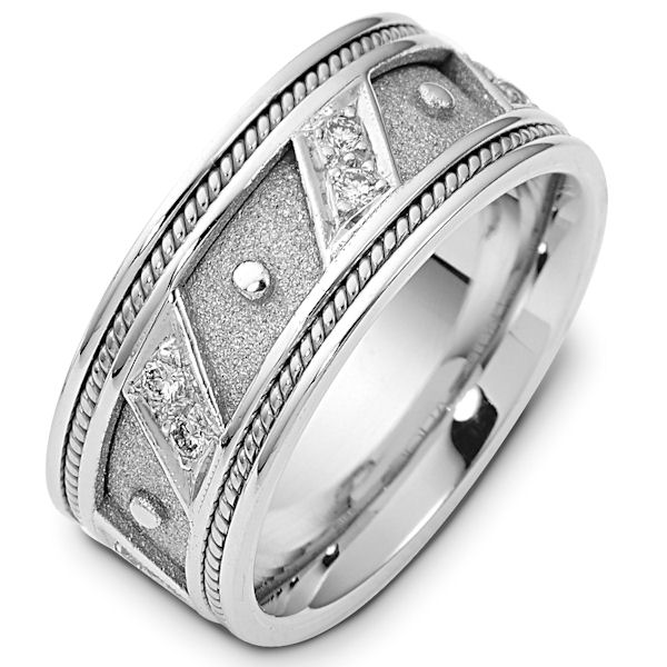 Item # 116241WE - 8.5 mm wide white gold, diamond ring. 0.30 ct diamond weight in size 6.0. The center of the ring is a coarse and heavy sandblast finish. There is one handcrafted rope on each side of the band. The outer edges are polished. Different finishes may be selected or specified.