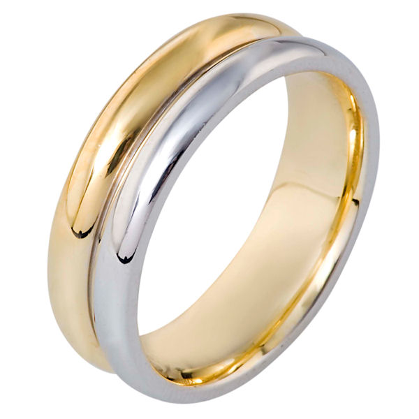 Item # 116431 - 14 kt two-tone hand made comfort fit Wedding Band 7.0 mm wide. The ring is a polished finish. Different finishes may be selected or specified.