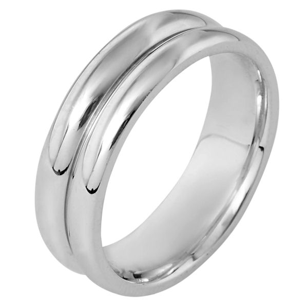 Item # 116431WE - 18 kt white gold, hand made comfort fit Wedding Band 7.0 mm wide. The ring is a polished finish. Different finishes may be selected or specified.