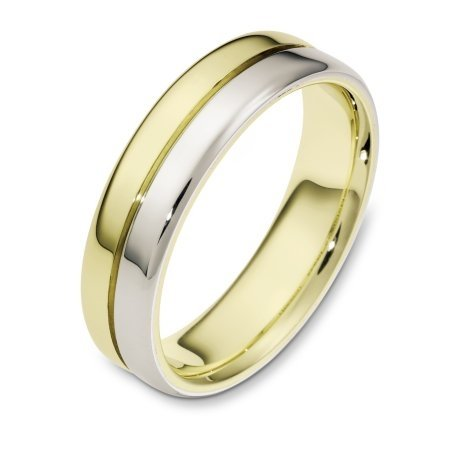 Item # 116441E - 18 kt white and yellow gold two-tone Wedding Band 6.0 mm wide. The ring is a polished finish. Different finishes may be selected or specified.