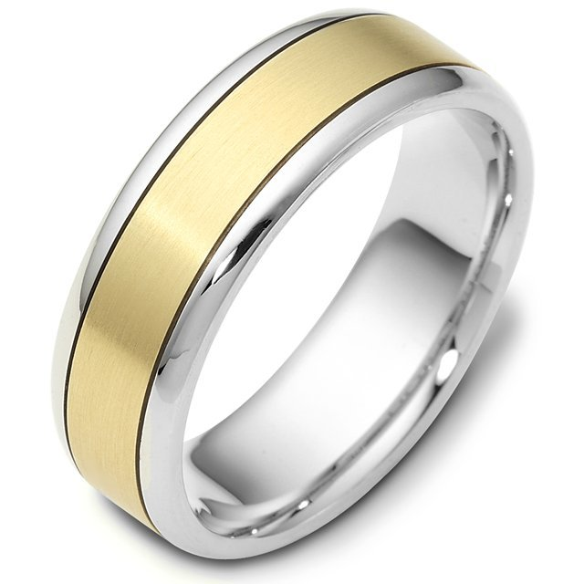 Item # 116451 - 14 kt two-tone hand made comfort fit Wedding Band 7.0 mm wide. The center of the ring is a matte finish and the outer edges are polished. Different finishes may be selected or specified.