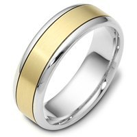 18K Gold Wedding Band Two-Tone Comfort Fit